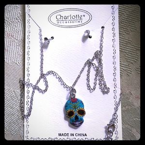 Sugar skull necklace and crystal earrings set